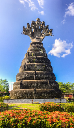 kaew: Sala Keoku, the park of giant fantastic concrete sculptures inspired by Buddhism and Hinduism. It is located in Nong Khai, Thailand