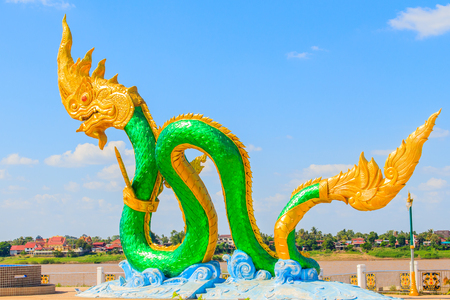 Amazing Naga Sculpture at Mekong Riverside Walking Street in Nongkhai, Thailand