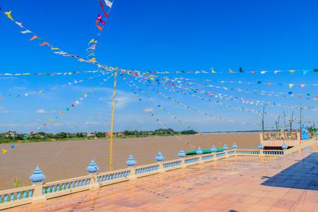 Mekong Riverside Walking Street flag decoration at Nong Khai, Thai-Lao Border Stock Photo