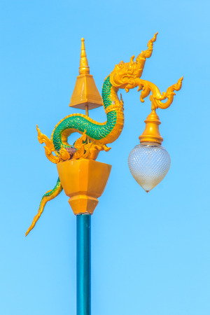 Beautiful Naga Street Lamp Decoration at Mekong Riverside Walking Street in Nongkhai, Thailand