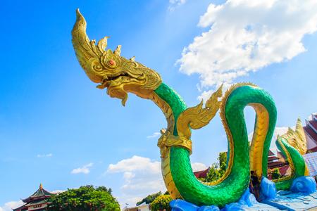Amazing Naga Sculpture at Mekong Riverside Walking Street in Nongkhai, Thailand