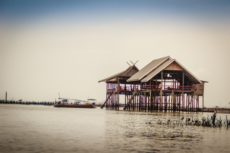 Hut in the sea that used for the owner to stay and guard his cockle farm in Samut Songkram, Thailand