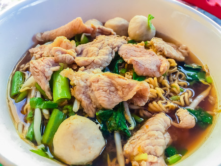 popular soup: Popular street food in Thailand (Kuai Tiao Moo Namtok) that consisted of pork ball, pork meat, basil or thyme, bean sprouts, morning glory, noodle and creamy soup which favouring with sugar, fish sauce, chilli and vinegar marinade