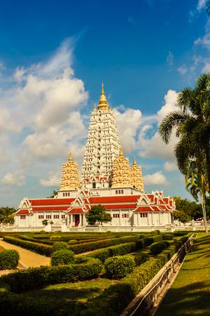 Beautiful White Buddhagaya Pagoda in Wat Yannasang Wararam Buddhist Temple at Pattaya city, Chonburi province, Thailand