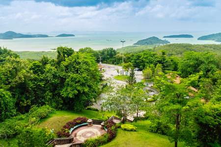 Beautiful view from Khao-Khad Views Tower, tourists can enjoy the 360-degree view such as Chalong bay, Panwa cape, Sire island, Bon island, tiny and large islands around Phuket including Phuket city. This tower was built according to Vichit district offic Stock Photo