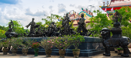 Beautiful Chineses style sculptures at Anek Kusala Sala (Viharn Sien), Thai-Chinese temple in Pattaya, Thailand. It was built in 1987 and is one of popular tourist attractions