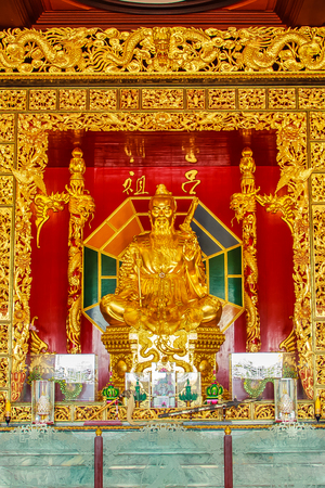 Beautiful Statue of Lu Dongbin, the patriarch of Chinese sects, 1 of 8 Immortal deities and revered by the Taoist and a popular element in Chinese culture at Viharn Sien, Pattaya, Chonburi, Thailand.