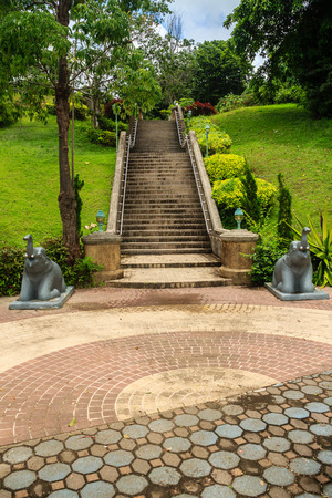 Beautiful stairway to Khao-Khad Views Tower, tourists can enjoy the 360-degree view such as Chalong bay, Panwa cape, Sire island, Bon island, tiny and large islands around Phuket including Phuket city. This tower was built according to Vichit district off Stock Photo