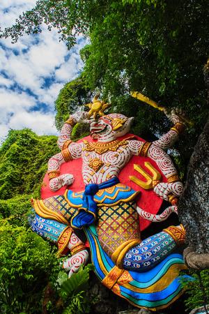 Beautiful  Indian Lord Hanuman sculptures at the entrance of Phuket fantasea, the public theme park in Phuket city, Thailand