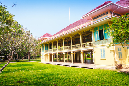 hua: Beautiful Architecture af Mrigadayavan Palace, a former royal residence and tourist attraction in Cha Am, Phetchaburi Province, Thailand.