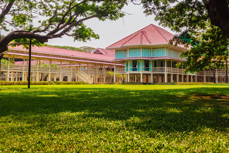 Beautiful Architecture af Mrigadayavan Palace, a former royal residence and tourist attraction in Cha Am, Phetchaburi Province, Thailand.