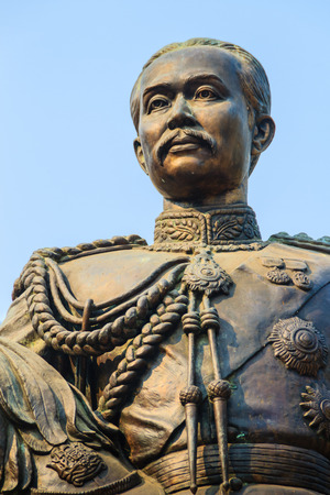 The brass statue of King Chulalongkorn (Rama V) at Phra Ramratchaniwet Palace (Wang Ban Peun), former the king Rama 5 palace, one of the main public tourist attractions in Phetchaburi, Thailand