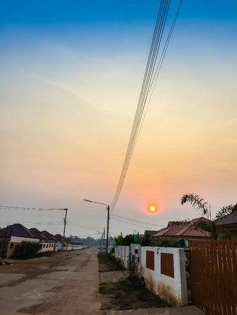 Sunrise In The Morning At The Newly Construction of Housing Estate. This is for the home loan or home mortgate concepts.