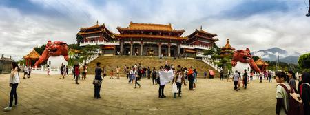 wen: Nantou, Taiwan - November 21, 2015: Tourist visited the beautiful of Sun Moon Lake Wen Wu Temple nearby Sun Moon Lake in Yuchi Township, Nantou County, Taiwan. Editorial