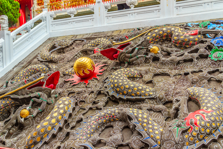 wen: Colourful Chinese Dragons sculptures can be found at Wenwu Temple nearby Sun Moon Lake in Puli County of Taiwan