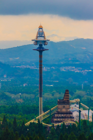 formosa: UFO tower, tallest free-fall ride at the Formosa Aboriginal Culture Village theme park.
