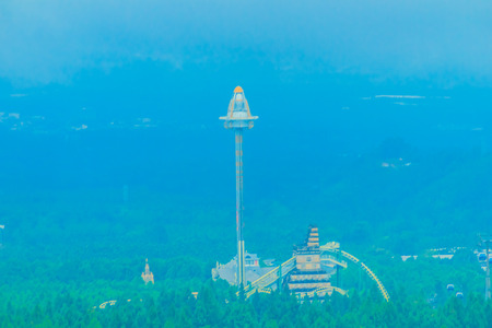 caida libre: UFO tower, tallest free-fall ride at the Formosa Aboriginal Culture Village theme park.