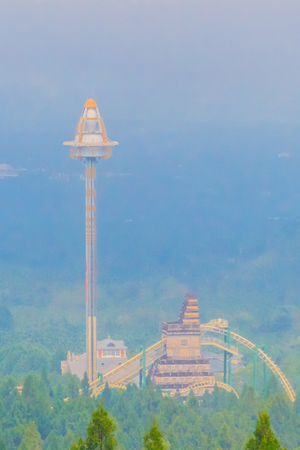 ropeway: UFO tower, tallest free-fall ride at the Formosa Aboriginal Culture Village theme park.