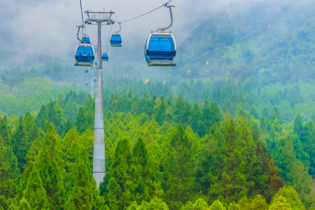 The Sun Moon Lake Ropeway is a scenic gondola cable car service that connects Sun Moon Lake with the Formosa Aboriginal Culture Village theme park. Archivio Fotografico