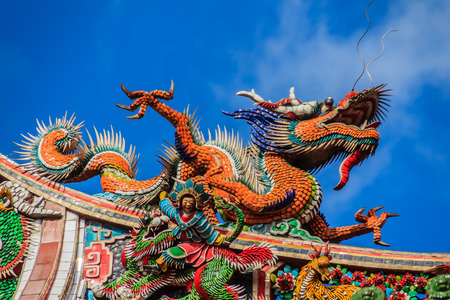 Beautiful Chinese dragon sculpture on the roof at Lungshan Temple of Manka,  Buddhist temple in Wanhua District, Taipei, Taiwan. The temple was built in Taipei in 1738 by settlers from Fujian during Qing rule in honor of Guanyin.