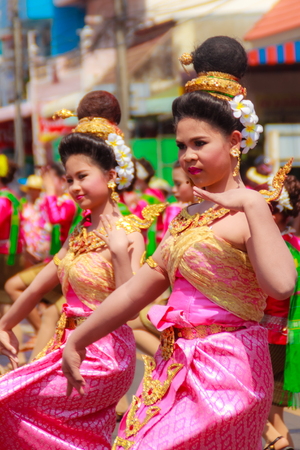 thai dancing: Det Udom, Ubon Ratchathani, Thailand - April 13, 2015: Beautiful Parade and Dancing Shows in Songkran Festival Celebration. The Songkran festival is Thai New Years festival on 13th April every year.