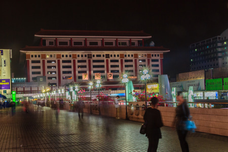 entryway: Luohu, ShenZhen, China - November 14, 2014: Beautiful Shenzhen nightscape view at Luohu District, Shenzhen city, Guangdong province, China nearby Luohu train station and the popular shopping center.