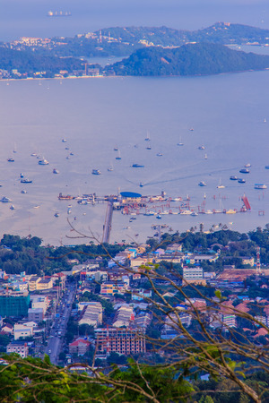 Beautiful view of Ao Chalong bay, aerial view from the big Buddha mountain. At this point,  tourists can enjoy the 360-degree view of Chalong bay pier including Phuket city.