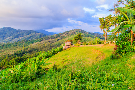 Beautiful panoramic mountain view from the hill Big Buddha in Phuket Thailand. At this viewpoint, tourists can enjoy the 360-degree view around Phuket including Phuket city. Stock Photo