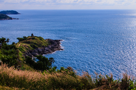 Beautiful landscape and Seascape views of Laem Promthep or Promthep cape, the most popular sunset view point and landmark of Phuket, Thailand.