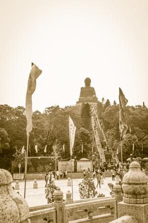 Lantau Island, Hong Kong - November 14, 2014: The tourist visited Giant Tian Tan Buddha statue on the peak of the mountain at Po Lin Monastery in Lantau Island, Hong Kong.