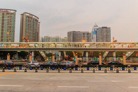 Luohu, Shenzhen - November 14, 2014: View of the border crossing from mainland China to Hong Kong at Luohu in Shenzhen, China. It is the port to transit from Mainland China to Hong Kong.