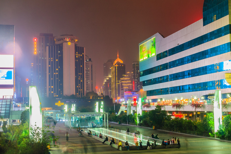Luohu, ShenZhen, China - November 14, 2014: Beautiful Shenzhen nightscape view at Luohu District, Shenzhen city, Guangdong province, China nearby Luohu train station and the popular shopping center.