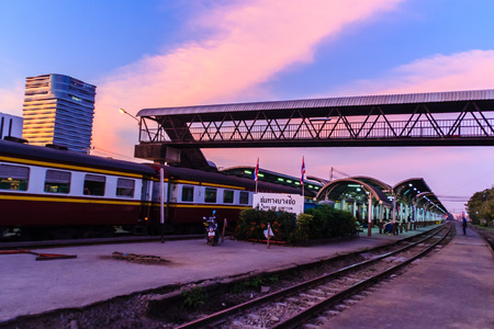 slow motion: BANGKOK , THAILAND - January 28, 2017: Beautiful of Bangsue Junction Train station on the evening in blue and orange sky background.