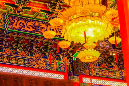 Beautiful Chinese lantern hanging on the ceiling at Chinese temple, Wat Leng -Noei-yi 2, Nonthaburi, Thailand
