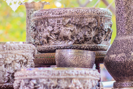 Beautiful Ancient Thai genuine silver bowl, retro engraved silverware, Beautiful genuine silver bowl handicrafts of Thailand Stock Photo