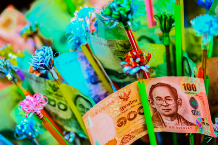 Variety of Thai bill on a money tree in Kathin Annual Ceremony after buddhist lent to offering robes to monks in this ceremony, people will make merit to the temple.