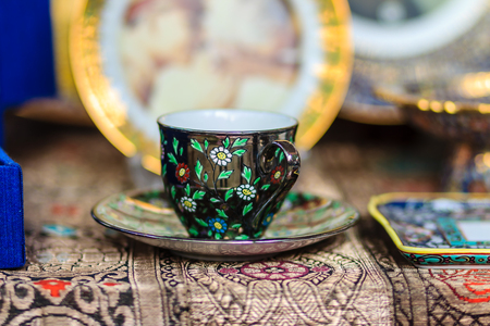 Black Vintage Thais style porcelain teacup, coffee cup handmade. Set of Black coffee cup with black plate in Thais style pattern painting.