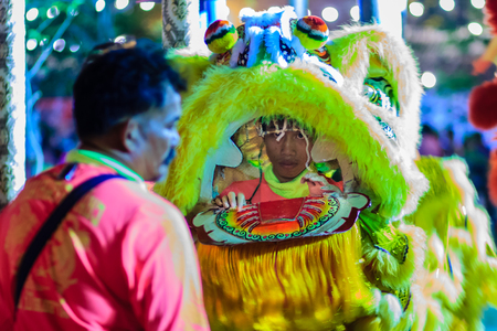 thai dancing: Bangkok, Thailand - January 29, 2017: Unidentified lion dance team are warming up for lion dance shows at night during Chinese new year festival in Bangkok, Thailand. Shot with high ISO, noise grain and motion blurred