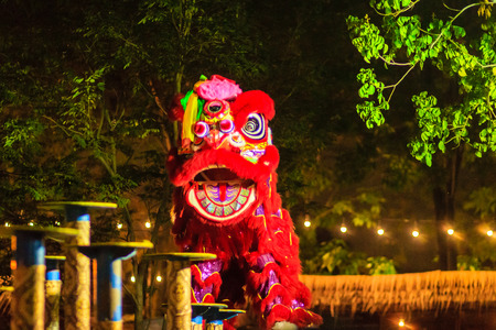 Awesome Chinese lion dancing shows on the poles at night during Chinese new year festival in Bangkok, Thailand. Shot with high ISO with noise grain and blurred