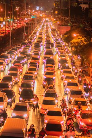 Bangkok, Thailand - January 30, 2017: View of Traffic jam at night in Sathorn Road, Sathorn district, Bangkok, Thailand.