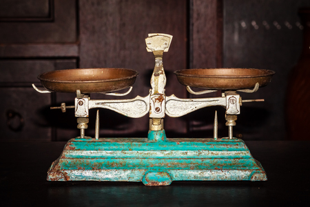 Old Golden weighing scale balance, Ancient old scale, Vintage old brass weight scale for people who like to collect the antique objects.