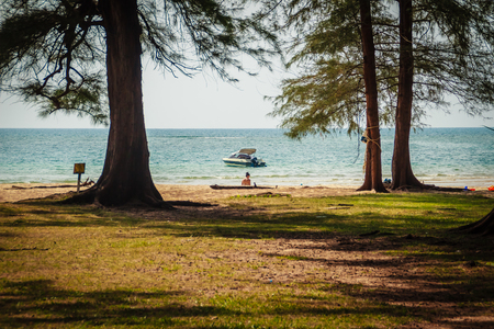 Speed boat moored at shore side, view from forest beach. Seascape view with forest tree and boat. Peaceful beach with yacht and tree. Sailboat or speed boat in the tree frame at Naiyang beach Phuket