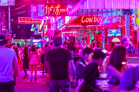 Bangkok, Thailand - February 21, 2017: Tourist visited Soi Cowboy, internationally known as a red light district at the heart of Bangkoks sex industry. Nightlife in Soi Cowboy, Bangkok, Thailand.
