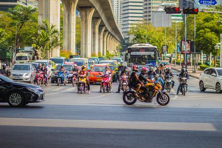 Bangkok, Thailand - February 21, 2017: Heavily traffic jam at Thai-Japanese bridge junction nearby Sala Daeng, Silom Road and Lumpini park area in Bangkok, Thailand. Editorial