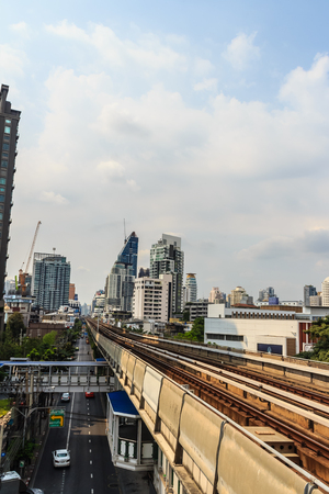 Bangkok, Thailand - February 24, 2017: View of new condominiums for sale next to BTS Skytrain and MRT Subway in the heart of Bangkok. Editorial
