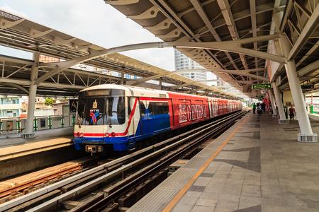 Bangkok, Thailand - February 24, 2017: Passengers and for the Bangkok Mass Transit System (BTS) public skytrain at the Thong Lor BTS station , Bangkok, Thailand