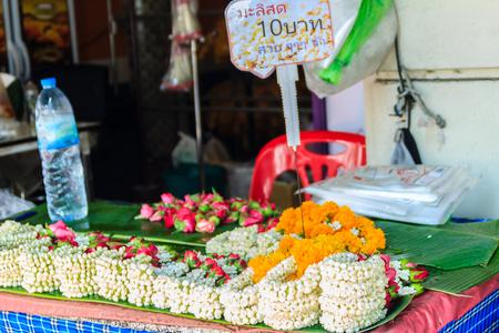 Bangkok, Thailand - March 2, 2017: Flower shop selling variety of flowers at the flower market named Pak Khlong Talat in Bangkok. Pak Klong Talad is the biggest flower market in Thailand.