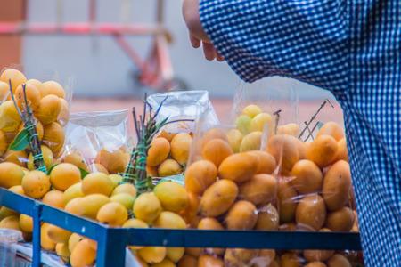 Plango fruit or Marian Plum, famous tropical fruit in Thailand for sale. Tropical fruit Marian plum, Plango, Maprang or Mayongchid (Bouae bumanica Griff) Stock Photo
