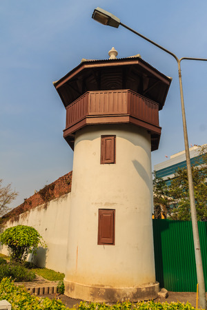 Old prison guard tower that constructed with brick, wood and red roof tiles. A watchtower on the corner of a prison wall that  named Bangkok Special Prison. Now this prison is the health public park