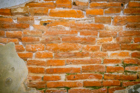 View of grungy old brick wall pattern. Abstract red aged brick background.